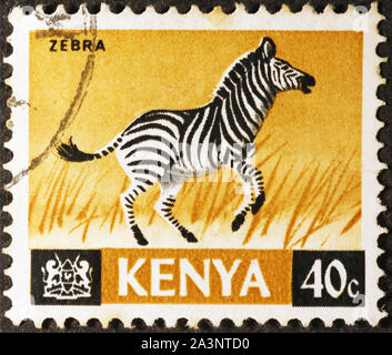 Zebra on kenyan postage stamp - Stock Photo