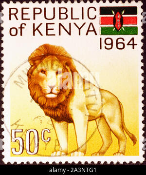 Lion on kenyan postage stamp - Stock Photo