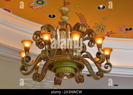 This beautiful lamp is part of the refined decoration of the Wynn Las Vegas. Nevada, USA. October 2, 2018 - Stock Photo