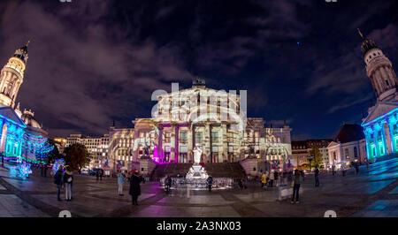 Berlin, Germany. 09th Oct, 2019. The Gendarmenmarkt is illuminated at the festival of lights 'Berlin illuminates'. Credit: Britta Pedersen, Paul Zinken/dpa/Alamy Live News - Stock Photo