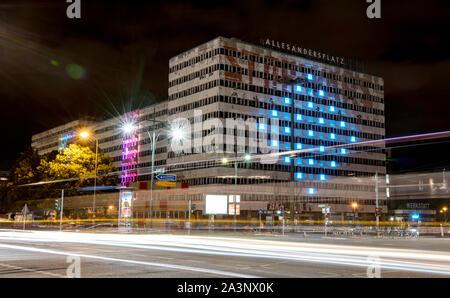 Berlin, Germany. 09th Oct, 2019. The House of Statistics at Alexanderplatz is illuminated at the Festival of Lights 'Berlin shines'. Credit: Britta Pedersen, Paul Zinken/dpa/Alamy Live News - Stock Photo