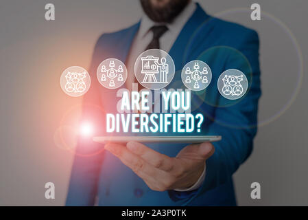 Handwriting text writing Are You Diversified Question. Conceptual photo someone who is Different Mixed Multi Faceted Male human wear formal work suit - Stock Photo