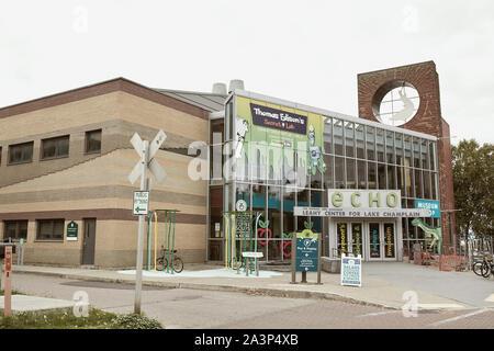 Burlington, Vermont - September 29th, 2019:  Exterior of ECHO, Leahy Center for Lake Champlain - Stock Photo