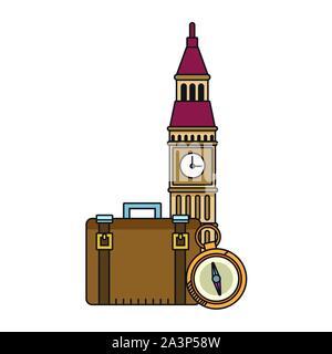 big ben and travel suitcases design - Stock Photo