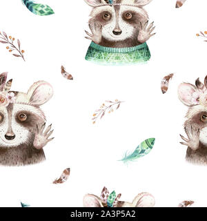 Watercolor boho floral raccoon seamless pattern with feather. bohemian natural background: leaves, feathers, flowers, Artistic decoration illustration - Stock Photo