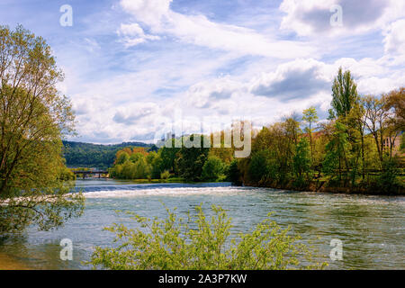 River Doubs with Citadel of Besancon at Bourgogne - Stock Photo