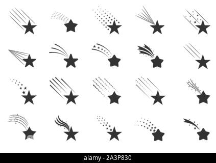 Shooting star icons. Falling stars with different tails, meteorite signs - Stock Photo