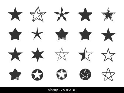 Star set. Star shape icons, award or insignia symbols Number one or first place signs - Stock Photo