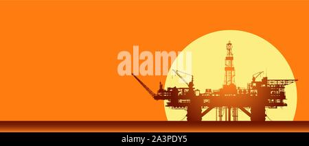 Sea oil rig. Offshore drilling platform on sunset - Stock Photo