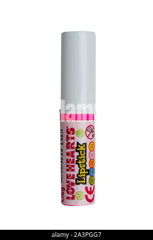 A Love Hearts Lipstick sweets on a white background - Stock Photo