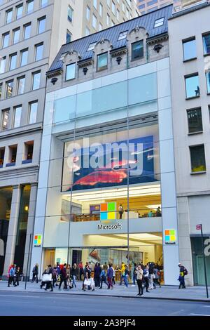 NEW YORK CITY, NY -4 OCT 2019- Exterior view of a Microsoft electronics store on Fifth Avenue in New York, USA. - Stock Photo