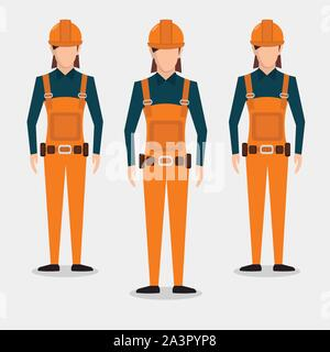 woman construction worker  vector illustration - Stock Photo