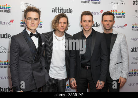 London, UK. 09th Oct, 2019. (L to R) Tom Fletcher, Dougie Poynter, Harry Judd and Danny Jones from McFly attend the Virgin Atlantic Attitude Awards 2019 powered by Jaguar at The Roundhouse Camden Credit: SOPA Images Limited/Alamy Live News - Stock Photo