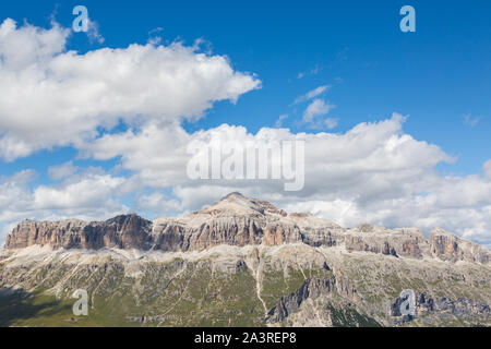 Sella group in Italian Dolomites with Piz Boe mountain summit - Stock Photo