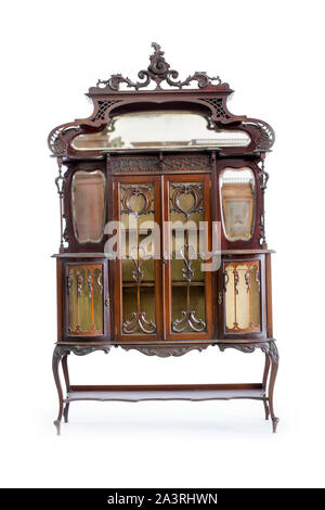 Beautiful old wooden bureau on a white background. - Stock Photo