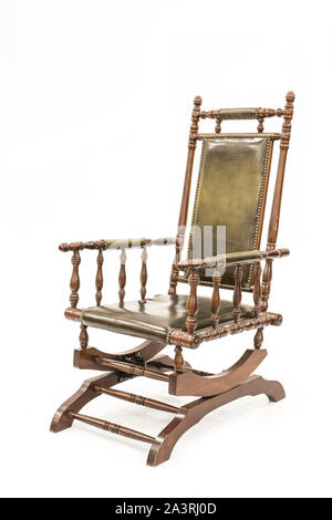 Beautiful old rocking chair on white background. - Stock Photo