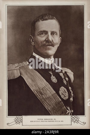 Victor Emmanuel III (Vittorio Emanuele III, 1869 – 1947) was the King of Italy from 1900 until his abdication on 9 May 1946. In addition, he held the - Stock Photo
