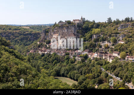 Pilgrimage town of Rocamadour, Episcopal city and sanctuary of the Blessed Virgin Mary, Lot, Midi-Pyrenees, France - Stock Photo