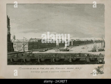 Engraving of wiews of Saint-Petersburg of the 18th centur. Russian Empire. Prospect down the Neva river from the Nevsky bridge between St. Isaac's Cat - Stock Photo
