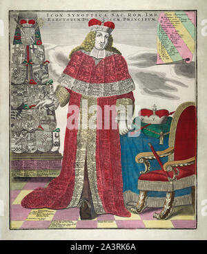 The synoptic Holy Roman Empire. Engraving depicts the symbolic figure of an Elector in full robes, covered with listings of all the rulers of the Holy - Stock Photo