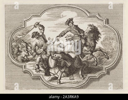 Engravings of horse battles and skirmishes in Europe in the 17th and 18th century. - Stock Photo