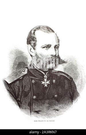 Engraving of Alexander II (1818 – 1881) the Emperor of Russia from 2 March 1855 until his assassination on 13 March 1881. He was also the King of Pola - Stock Photo