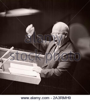 Soviet Premier Nikita Sergeyevich Khrushchev pounds his fist against the podium while addressing the United Nations General Assembly in Manhattan. Sep - Stock Photo
