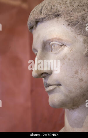 Head of Augustus, Ancient Rome Emperor. Marble. First century A.D. - Stock Photo