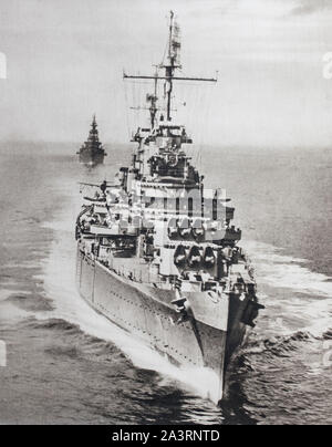 The most modern units of the American fleet participate in Pacific operations. The cruiser 'Philadelphia', preceding the cruiser' Augusta', on reconna - Stock Photo