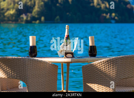 Table for two in eastern europe. Lake Bled, Slovenia. - Stock Photo