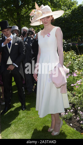 Photo Must Be Credited ©Jeff Spicer/Alpha Press 079804 18/06/2015 Eleanor Tomlinson and Boyfriend Ben Atkinson at Ladies Day Royal Ascot 2015 in Berkshire - Stock Photo