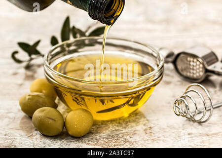 Olive oil salad dressing at home - Stock Photo