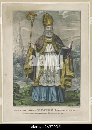 The Apostle of Ireland St. Patrick: born A.D. 372, died A.D. 464. Serpentes et omnia venenata animalia ex Hibernia baculo Jesu expulit - Stock Photo