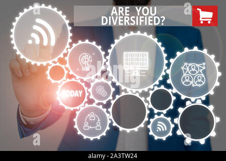 Text sign showing Are You Diversified Question. Business photo showcasing someone who is Different Mixed Multi Faceted Male human wear formal work sui - Stock Photo