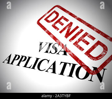 Visa application denied means passport stamp refused. Rejected travel to the foreign country - 3d illustration - Stock Photo