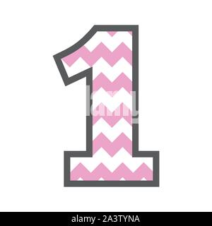 1 One Chevron Number w colorful pink and white pattern and grey border - Stock Photo