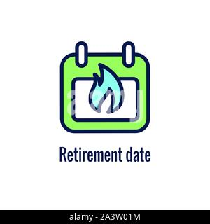 Retirement Savings Icon w retiring and monetary images - Stock Photo