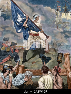 American Revolutionary War (1775-1783). William Jasper (c.1750-1779), sergeant in the 2nd South Carolina Regiment, raises the Fort Moultrie Flag on a temporary staff during the Battle of Sullivan's Island and held it under fire until a new staff was installed. Juny 28th, 1776. Engraving by Howard Pyle. Harper's Magazine, 1883. Later colouration. - Stock Photo