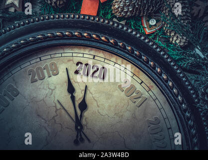 On the New Year's clock 2020. - Stock Photo