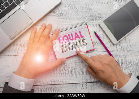Handwriting text Equal Rights. Conceptual photo Equality before the law when all showing have the same rights - Stock Photo