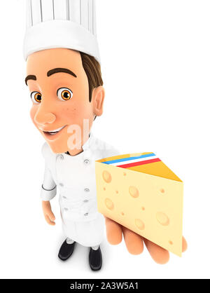 3d head chef holding piece of cheese, illustration with isolated white background - Stock Photo