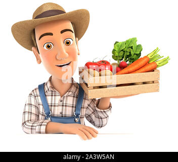 3d farmer holding wooden crate of vegetables, illustration with isolated white background - Stock Photo