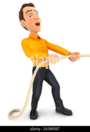 3d man pulling on the rope, illustration with isolated white background - Stock Photo