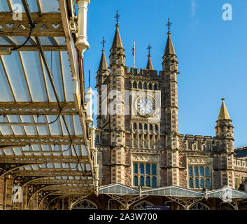 Main entrance to Temple Meads station Bristol UK with its gothic facade and clock tower - Stock Photo