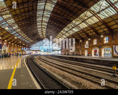 Through lines and platforms of Bristol Temple Meads railway station in Bristol UK - Stock Photo
