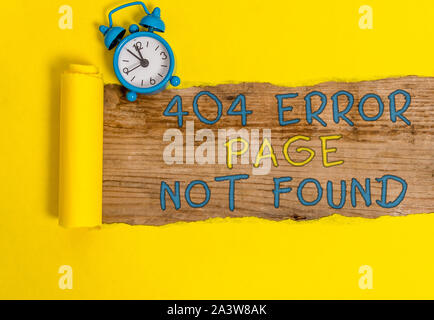 Writing note showing 404 Error Page Not Found. Business concept for Webpage on Server has been Removed or Moved - Stock Photo