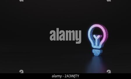 glitter neon violet pink ombre symbol of bulb 3D rendering on black background with blurred reflection with sparkles - Stock Photo