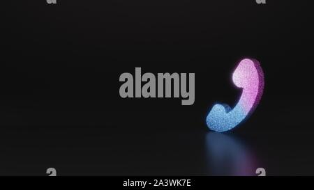 glitter neon violet pink ombre symbol of headphone 3D rendering on black background with blurred reflection with sparkles - Stock Photo