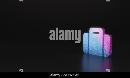 glitter neon violet pink ombre symbol of suitcase 3D rendering on black background with blurred reflection with sparkles - Stock Photo
