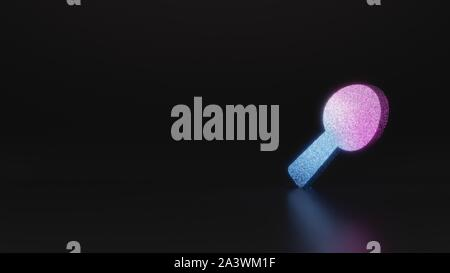 glitter neon violet pink ombre symbol of spoon 3D rendering on black background with blurred reflection with sparkles - Stock Photo